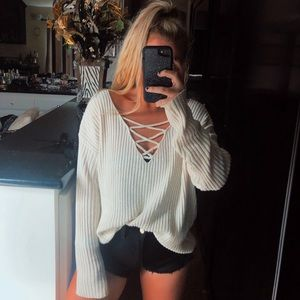 Tops - Oversized lace up sweater